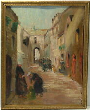 NORTH AFRICA FRENCH IMPRESSIONIST 19th C. STREET SCENE w FIGURES OIL ON PANEL