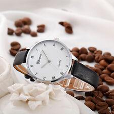 Mode Damenuhr Armbanduhr Römische Ziffern Utra-slim Band Quarz Uhren Neu