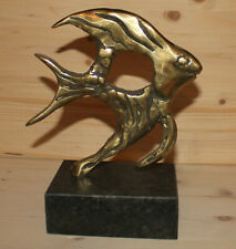 Vintage hand made bronze abstract modernist fish figurine with marble base