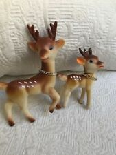 "Vintage Christmas Reindeer Soft Plastic W/ Bell  Mom & Fawn - 4.5"" Tall Japan #U"