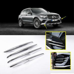 Chrome Car Front Fog Light Strip Cover For Mercedes Benz GLC x253 c253 2017-19