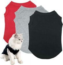 3pcs Puppy Cat Dog Shirts Pet Clothes Blank Clothing Apparel Doggy Vests Cotton