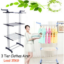 Foldable 3Tier Clothes Airer Laundry Dryer Rack Line Dress Garment Hanging Stand