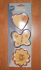 NEW Wilton 3 Pcs Cookie Cutter Set Heart  Butterfly flower Metal