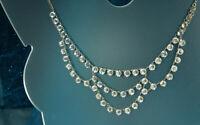 1930s ART DECO FESTOON Necklace 12k White Gold Fill OPEN BACK CZECH CRYSTALS Fab