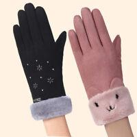 FJ- CN_ Women Fashion Outdoor Cute Winter Soft Warm Faux Suede Mittens Gloves Ra