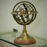 ANTIQUE BRASS ARMILLARY SPHERE GLOBE ASTROLABE ZODIAC SIGN WITH WOODEN BASE
