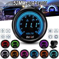 52mm Auto Voltmeter Anzeige zusatzinstrument Spannungsanzeige 10 Farbe LED 8-18V