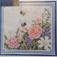Bees & Flowers counted cross stitch magazine pattern, fabric & floss lot