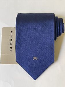 """NEW Burberry Blue Stripes Mans 100% Silk Tie Authentic Italy 3.5"""" 0350437"""
