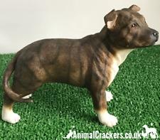 Dog Studies by Leonardo Large Brindle Staffordshire Bull Terrier Figurine Staff