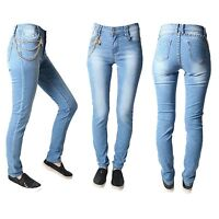 Sexy Women Ladies Slim Skinny Blue Denim Jeans Pants With Chain Size UK 8 -14