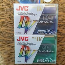 Digital Mini DV Video Cassettes Blank Set of 2 NOS JVC Brand Color Collection