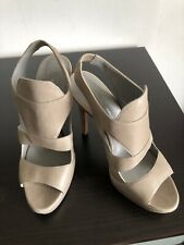Tania Spinelli Grey Leather Open Toe Heels 39