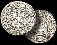 LUDWIG II / HUNGARY & Bohemia / SILVER 1/2 Groschen 1526 / Crown & Eagle / COA