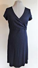TOAD & CO Navy Blue Knit Dress L Large Empirical Stretch Organic Cotton Wrap