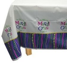 Mardi Gras Beads Party Tablecover Plastic 54 x 96 Celebration Decor