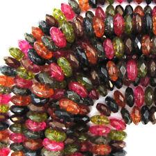 "Faceted Watermelon Tourmaline Quartz Rondelle Beads 15.5"" 4mm 6mm 8mm 10mm 12mm"