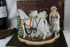 Gorgeous German antique bisque porcelain horse farm girl planter jardiniere