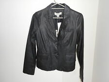 Ladies Just Jeans Black Genuine Leather Jacket Blazer Coat Size 8
