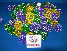 NEW 6 YELLOW, GREEN AND PURPLE ACRYLIC DICE 16MM 3 COLORS 2 OF EACH COLOR BUNCO
