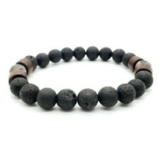 Mens Natural Black Lava Stone Rock Volcanic Round Bead Stretch Elastic Bracelets