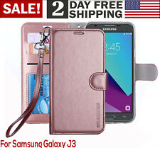 Samsung Galaxy J3 Amp Prime Sol 2 2017 PU Leather Wallet Flip Stand Case Cover