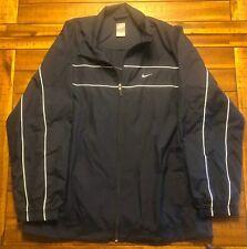 Nike Navy Athletic Wind Track Jacket Nylon Full Zip Logo Microfaille Men's L