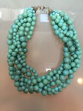 NWOT Faux Light Turquoise Beaded Bubble Bib Wedding Statement Necklace