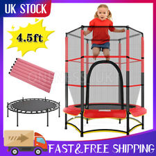 "4.5FT Mini Trampoline Set with Enclosure Safety Net Outdoor 55"" Kids Play Toy UK"