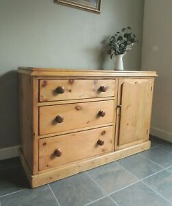 Lovely Antique Victorian Solid Pine Sideboard Cupboard Drawers