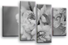 FLORAL FLOWER ART Picture Grey White Spring Blossom Canvas Wall Split