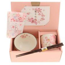 Japanese Ceramic Sakura Tea Cup Rice Bowl Wooden Chopsticks Textile Napkin Set