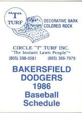 1986 Bakersfield Dodgers Pocket Schedule Cirle T Turf