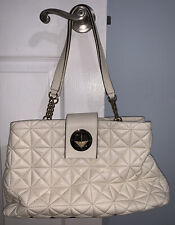 Kate Spade White Gold Chain Quilted Leather Tote Shoulder Bag