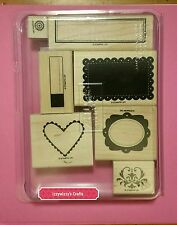 Stampin Up FRAMED WITH LOVE heart scallop rectangle labels tags frames EUC (605)