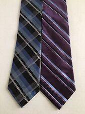 LOT OF 2 MICHAEL KORS TIE TIES BLUE/PURPLE/Black and white Striped 100% Silk