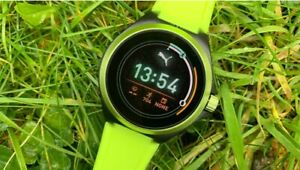Puma Smartwatch Model PT9101 Neon Yellow Silicone Touchscreen GPS HR *SEALED*