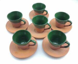 Turkish Coffee (Espresso) Cup Saucer - Set Of 6 - Handmade Clay