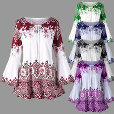 Women's Long Floral Print Shirt Blouse Bell Sleeve Tops Lace Up Casual Tunic