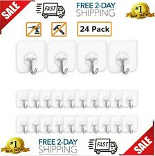 24 Pack Reuseable Wall hooks Self adhesive sticky picture hangers stick on hooks