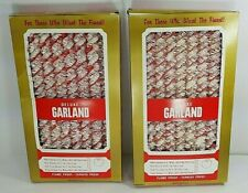 2 Vtg Boxes(25 Ft) Revlis Christmas Garland -Red & White Curly Twist -Never Used