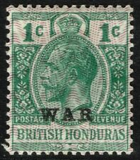 SG 114 BRITISH HONDURAS 1916 WAR STAMP - 1c GREEN - MOUNTED MINT