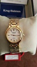 Krug Baumen 5116DM Charleston 4 Diamond White Dial Gold Strap Watch
