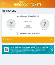 Two tickets Euro 2020 Match 40 in Budapest 1C vs 3D/E/F 27.06.2021 cat3