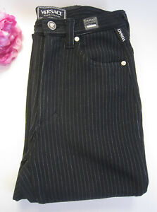 Versace designer ladies black stretch jeans trousers.Size Small.100% auth.