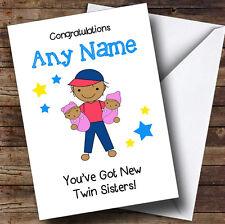 Congratulazioni asiatici NEW BABY TWIN Sorelle bambine personalizzati Sibling CARD