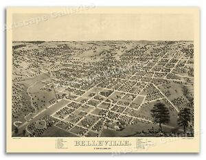 1867 Belleville Illinois Vintage Old Panoramic City Map - 24x32