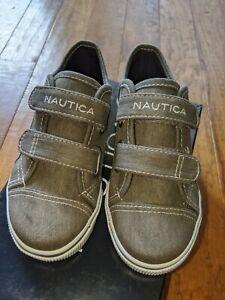 NEW boys sz 11 Nautica Colburn gray washed canvas loafer deck shoes