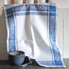 Geschirrtuch French Motive weiß-blau 100% reines Leinen Gläsertuch Ju-Lein